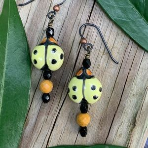 Ladybug Porcelain/Jasper/Onyx earrings